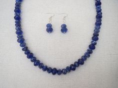 Royal Blue Marble Faceted Glass Necklace and by jazzybeads on Etsy
