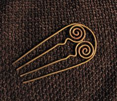 Hair Comb, Wire Wrapped Brass Hair Fork by Hvitolg on Etsy