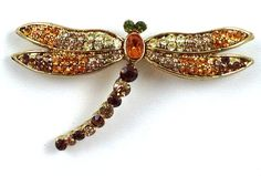 Gold Citrine Brown Crystal Dragonfly Brooch 2.25 x 1.5