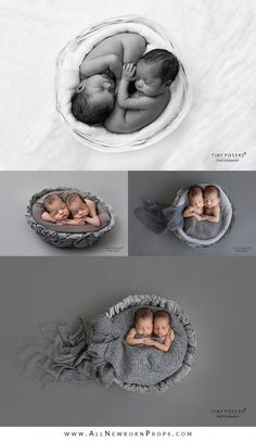 Twin boy newborn photography props: ideas & tips for natural, organic, minimalist newborn baby photography session set up in white and grey color schemes. Newborn photography props: how to make simple, timeless and neutral photos. Ideas & helpful tips on choosing original and beautiful newborn posing props for newborn twins photo shoot. Ideas for new born twin babies pictures. Twin girl newborn photography poses