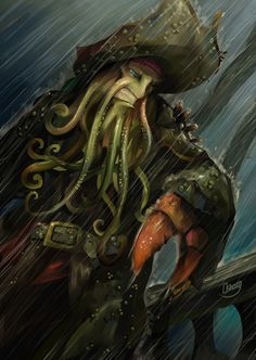 Davy Jones in the storm by on DeviantArt Pirate Art, Pirate Ships, Pirate Life, Caribbean Art, Pirates Of The Caribbean, Disney Dream, Disney Love, Steam Works, Johnny D