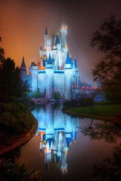 unique photos to take at disneyworld | Cinderella's Castle at sunrise in the fog