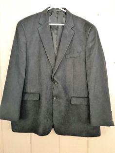 Chaps Men's Sports Coat Classic 2 Button Suede Feel Blazer Jacket Black Size 48R #Chaps #TwoButton