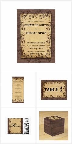 Rustic Country Barn Wood Beauty Wedding Old Barn Wood, Scroll Design, Brown Floral, Invitation Set, Wedding Beauty, Reception, Rustic, Country, Beautiful