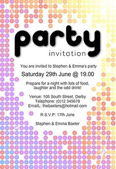 176 Best Party Invitation Images