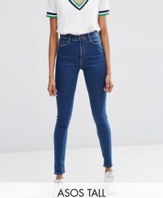 ASOS TALL Ridley High Waist Skinny Jeans in Kioshi Flat Blue Wash - Blue. Tall jeans in longer sizes for tall women.
