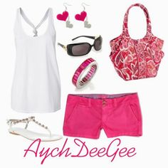 Love the hot pink shorts. Short Outfits, Summer Outfits, Cute Outfits, Summer Clothes, Hot Pink Shorts, Pink Summer, Summer Dream, Fashion Outfits, Womens Fashion