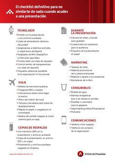 El checklist definitivo para no olvidarte de nada antes de una presentación by Gonzalo Alvarez via slideshare
