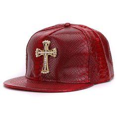 Crocodile skin Boy snap backs 3D metal decoration PU leather flat brim  baseball caps hip hop hat for men 9c2455ba9a4