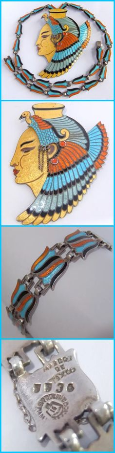 Vintage / antique Egyptian revival sterling silver and enamel necklace and bracelet set, early Mexican export piece.