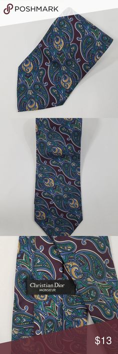 """Vintage Christian Dior Monsieur Paisley Print Tie For sale is a Vintage Christian Dior Monsieur Paisley Print Men's Tie. Tie is pre-owned and in good condition. The length is 58.5"""" and the width is 3.5"""". Please review all pictures. Feel free to send us  any questions. Thank you for shopping with us! Christian Dior Accessories Ties"""