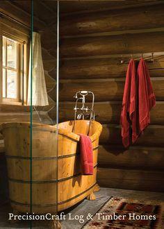 Master Bathroom | Custom Handcrafted Log Home | PrecisionCraft Log Homes by PrecisionCraft Log Homes & Timber Frame ~ Wow!