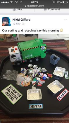 Pin Learning through play - Intentional teaching environment Eyfs Activities, Nursery Activities, Earth Day Activities, Toddler Activities, Preschool Activities, Recycling Activities For Kids, Recycling For Kids, Recycling Process, Recycling Center