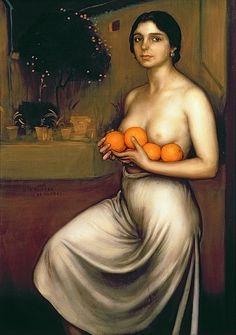 'Naranjas y Limones' (1927) by Spanish painter Julio Romero De Torres (1874-1930). Oil & tempera on canvas, 104 x 74 cm. collection: Museo Julio Romero de Torres, Córdoba. via WikiMedia