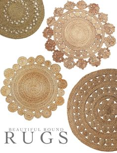 via Rylo Interiors Round rugs can be difficult to use, but when they are as decoratively woven as these natural beauties they themselves become art. Wall Carpet, Diy Carpet, Jute Rug, Woven Rug, Do It Yourself Design, Braided Area Rugs, Jute Crafts, Fabric Rug, Floor Decor
