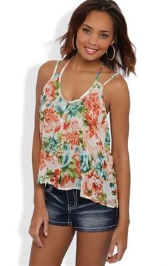 Deb Shops #Floral Chiffon Tank with Multi Straps and Button Front $13.30