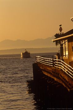 Ferry crossing Puget Sound, Seattle, Washington State.