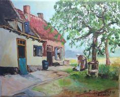 Boerderij met boerin door Riet de Paauw.