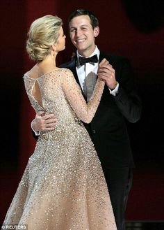 First daughter Ivanka had a princess moment as she stunned in a glittery Carolina Herrera gown as she danced with husband Jared Kushner