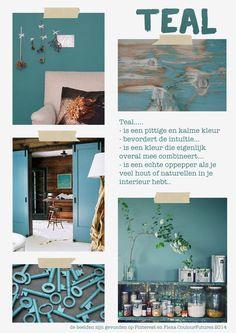 de kleur teal past in het hier en nu Rv Homes, Kitchen Paint Colors, Love Home, Bathroom Interior, My Favorite Color, Color Trends, Color Inspiration, Colorful Pictures, Gallery Wall