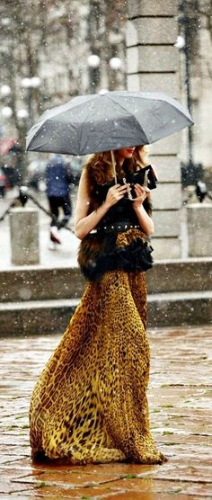 Leopard maxi skirt  and umbrella ella ella!