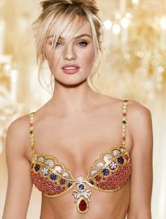 the Royal Fantasy Bra and matching Belt is worth a jaw-dropping $10 million dollars, making it one of the most expensive bras in the fashion show's history, topped only by Gisele Bundchen's $12.5 million in 2005. The pricey and beautiful piece of lingerie, which was created by world-renowned jeweler Mouawad, is adorned with over 4,200 precious gems, including rubies, diamonds, and yellow sapphires all handset in 18-karat gold. But the real gem? A 52-karat, pear shaped center ruby.