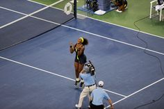 Serena Williams (USA)[4] celebrates after defeating Victoria Azarenka (BLR)[1] in the final of the 2012 US Open. - Andrew Ong/USTA
