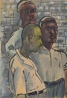 Three Men, Study for Riker's Island Mural By Ben Shahn ,Circa  1934