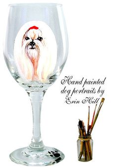 NEW ARTIST HAND PAINTED MALTESE DOG WINE GLASS