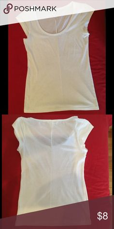 White Cap Sleeved Victoria's Secret Tee Used Victoria's Secret Tee. Tee is sheer, great for layering. Please let me know if you have any questions. Victoria's Secret Tops Tees - Short Sleeve