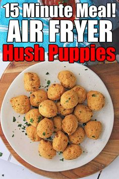 Air Fryer Hush Puppies {10 Minutes} Air Fryer Oven Recipes, Air Frier Recipes, Air Fryer Dinner Recipes, Air Fryer Rotisserie Recipes, Hush Puppies Recipe, Recovery Food, Air Fried Food, 15 Minute Meals, Air Frying