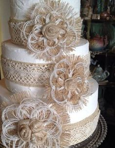 These romantic natural burlap flowers will be a lovely addition to your rustic, … – Lace Wedding Cake Ideas Wedding Cake Fresh Flowers, Wedding Cake Rustic, Lace Wedding, Trendy Wedding, Purple Wedding, Wedding Reception, Wedding Dresses, Wedding Cupcakes, Wedding Cake Toppers