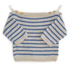 Le pull marinière pour bébé Augustin est à tricoter en tailles : - 3-6-12-18-24 mois Ce petit pull à rayures au point jersey et en côtes 1/1 se tricote très facilement. Le corps peut être tricoté en rond ou à plat selon votre niveau. Les coutures du corps et des manches sont très simples. Se tricote aux aiguilles 4 en laine Ambiance de Fonty. Échantillon 10 x 10 cm : 20 mailles x 28 rangs. Vous pourrez trouver tout le matériel et le kit à tricoter sur A&A patrons.