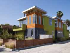 Architect Andrew Mangan combined green features and modern design with this brightly colored, sustainable house.