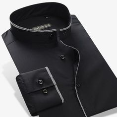 Mandarin Style Cotton Long Sleeve Slim-Fit Button-Up Shirt Business Casual Dress Shirts, Business Casual Men, Casual Shirts For Men, Men Casual, Formal Tops, Formal Shirts, Cheap Dress Shirts, Work Fashion, Fashion Outfits