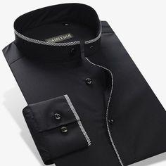 Mandarin Style Cotton Long Sleeve Slim-Fit Button-Up Shirt Formal Shirts, Casual Shirts For Men, Men Casual, Business Casual Dresses, Business Casual Men, Studded Shirt, Banded Collar Shirts, Mandarin Collar Shirt, Shirt Dress