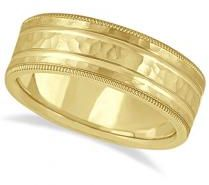 #Allurez                  #Gold Wedding Bands       #Men's #Groove #Wedding #Band #Shiny #Hammer #Finish #Yellow #Gold #(7.5mm)   Men's Groove Wedding Band Shiny Hammer Finish 14k Yellow Gold (7.5mm)                                   http://www.snaproduct.com/product.aspx?PID=5761335