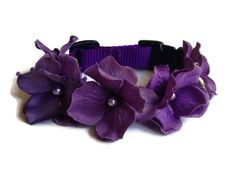 Dog Collar Purple Flower with Light Purple Pearls in the Middle, sizes 19 - 25 inches