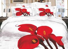 Florid White Wash Printed 4 Piece Cotton Bedding Sets with Red Flowers