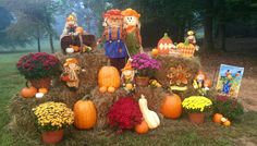 Fall is in the air! Fall Yard Decor, Fall Decorating, Fall Halloween, Floral Arrangements, Thanksgiving, Pumpkin, Pumpkins, Autumn Decorations, Autumn Home