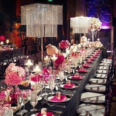 Luxury pink ballroom wedding reception decor; Via Amy Burke Designs