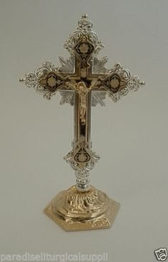 "$29.99, 6.75"", New-Jerusalem-Cross-Crucifix-with-INRI-Inscriptions-Metal-Made-in-Holy-Land. JERUSALEM Inscription on the Backside."