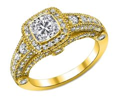 Cushion Diamond Legacy Engagement Ring graduated Pave Halo in Yellow Gold - ES876CUYG by Heidi-Vogel