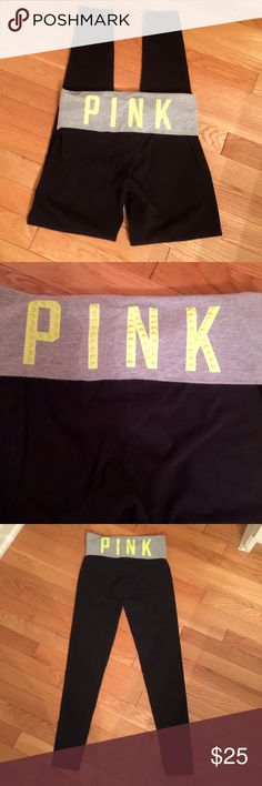 PINK yoga skinny pants Black with grey trim at top which has yellow sequined PINK wording. Minimal wear, great preloved condition. PINK Victoria's Secret Pants Leggings