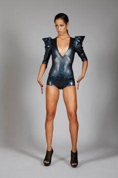 Signature Romper in Black Holographic Spandex, Disco Bodysuit, Dark Sci Fi Leotard, Glam Goth Stage Wear, Sexy Club Clothing, by LENA QUIST