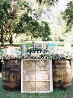Rustic Wooden Barrel Reception Bar |  CASSIDY CARSON PHOTOGRAPHY | SHANNON REEVES EVENTS | http://knot.ly/6497BxnwW | http://knot.ly/6498Bxnwo