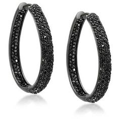 Bling Jewelry Glitter Goth Hoops featuring polyvore, fashion, jewelry, earrings, black, hoop-earrings, glitter jewelry, glitter hoop earrings, imitation jewelry, black earrings and gothic jewellery