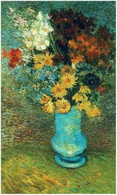 "Vincent van Gogh  Painting, Oil on Canvas  Paris: Summer, 1887  Kröller-Müller Museum  Otterlo, The Netherlands, Europe  ""Vase with Daisies and Anemones"""