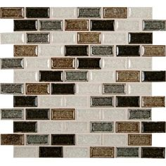 """MS International Sandy Beaches Mounted 1"""" x 2"""" Glass Mosaic Tile in Multi"""