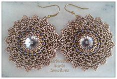 Beaded earrings with swarovski rivoli!!